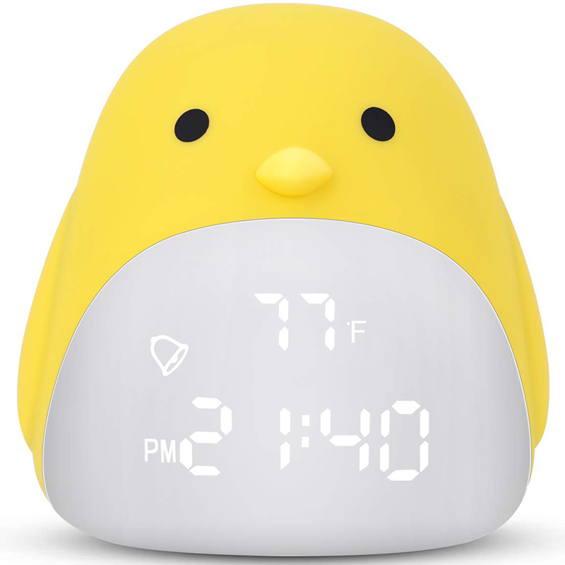 Kids <font><b>Alarm</b></font> <font><b>Clock</b></font>,Cute Chick <font><b>Alarm</b></font> <font><b>Clock</b></font> For Girls <font><b>Boys</b></font>,Night Light <font><b>Clock</b></font> With 3 Color Changing,Wake Up Digital <font><b>Clock</b></font> For Kids,Be image