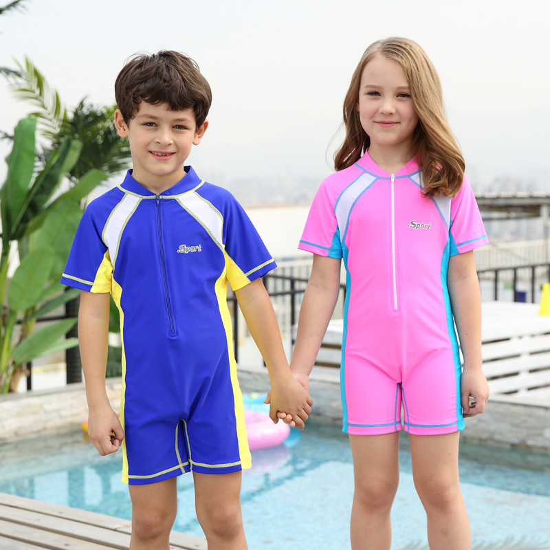 2018 New Style Hot Sales One-piece Swimming Suit Short Sleeve Shorts Contrast Color Small Stand Collar Zipper Men And Women Chil