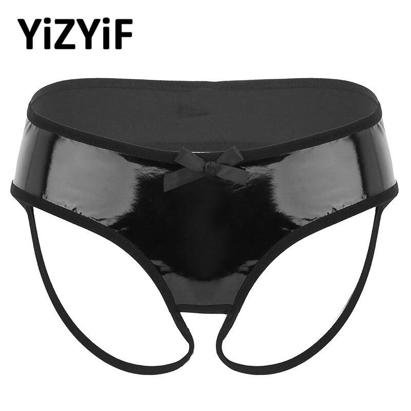 Women Lingerie Underwear Bikini Bottom Wetlook Clubwear Faux Leather Crotchless Open Butt Low Rise Bikini Briefs Sexy Panties