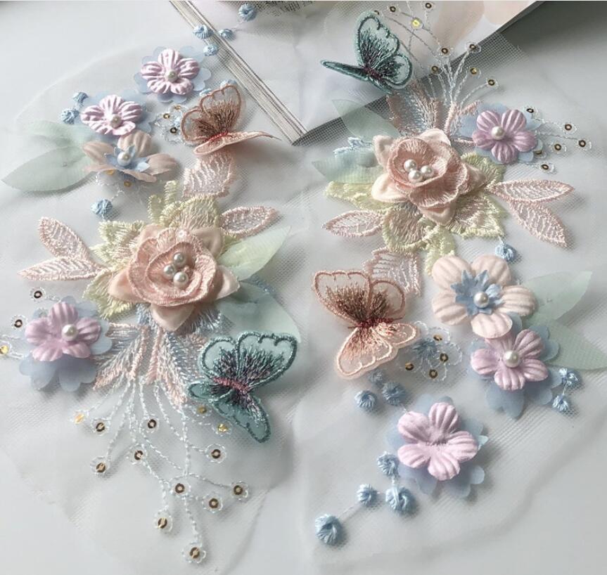 1 шт., кружевная аппликация-бабочка с цветочной вышивкой