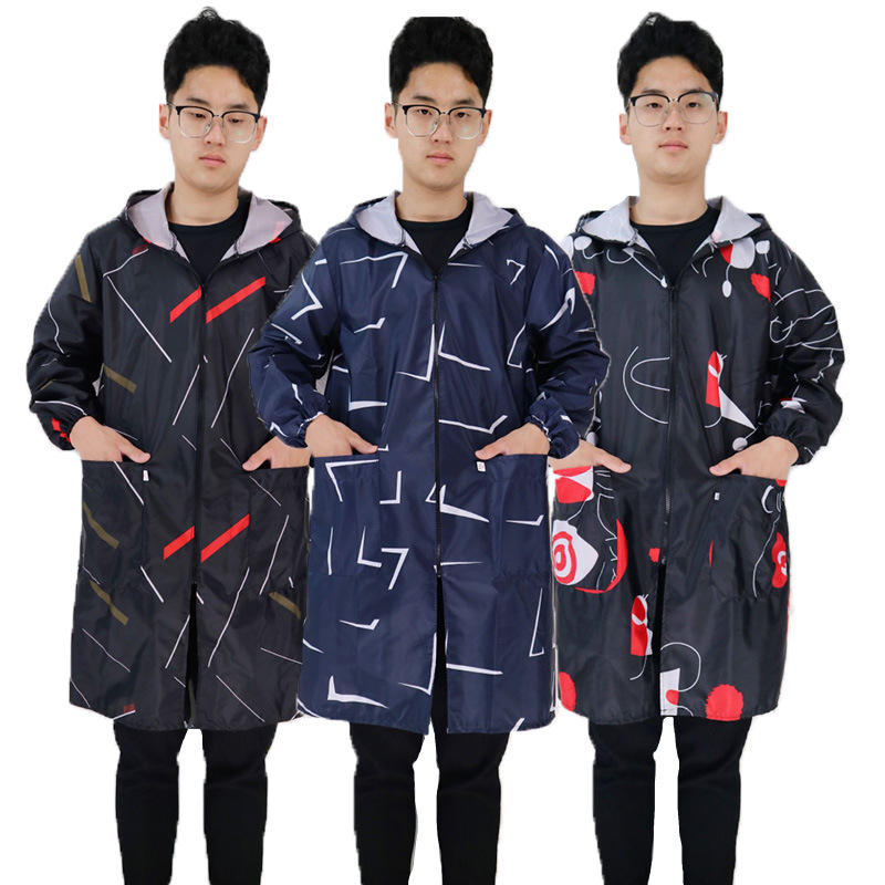 Antifouling Apron Zipper Overclothes Long Sleeve Adult Men And Women Korean Style Fashion Minor Waterproof Work Clothes Move Goo