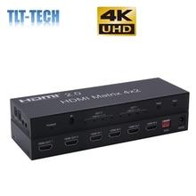 20 hdmi матрица 4x2 4k @ 60hz hdr переключатель сплиттер 4 в