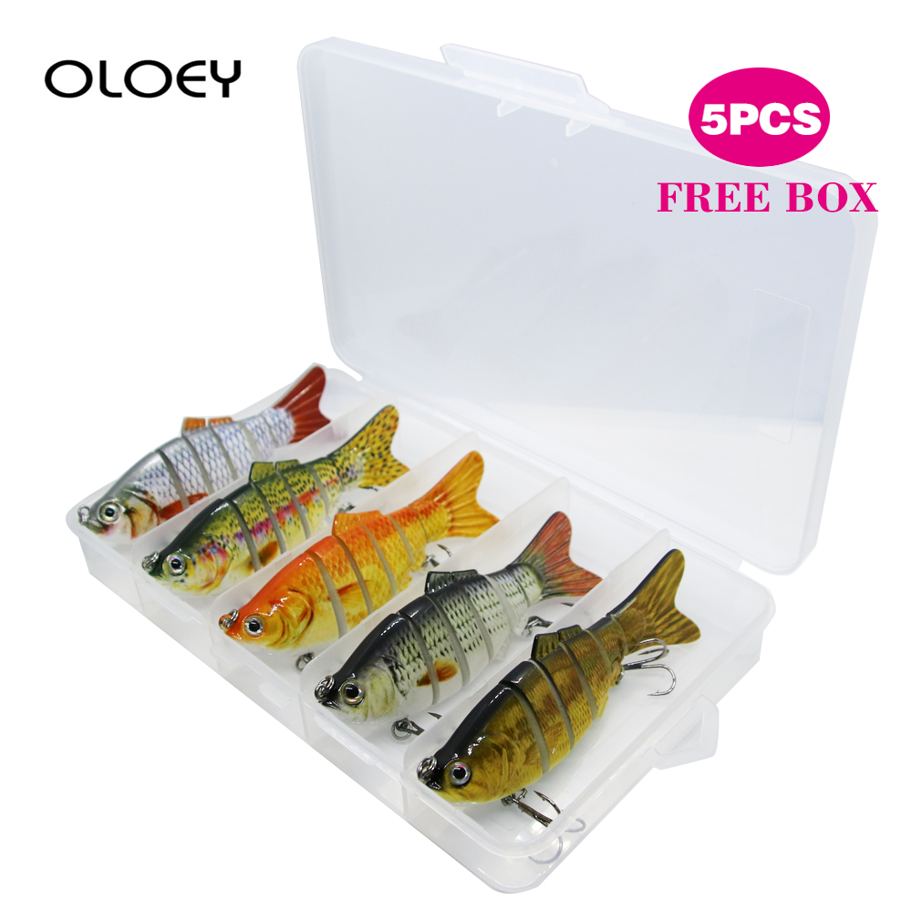 OLOEY 5Pcs Fishing Lure Hard Artificial Bait 10cm 17.5g Sinking Wobblers Jig 3D Eyes Fishing Tackle Jointed Crankbait Swimbait|Fishing Lures| |  - title=
