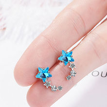 Korean Earrings 925 sterling silver Five-Point Star Stud Earrings for Women Trendy Luxury Crystal Earring Wedding Jewelry Gifts