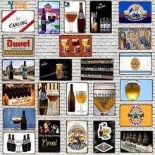Cerveza belga carteles de Metal placa de Metal de pared Vintage Bar arte manualidades Retro cine decoración 30X20CM DU-9592A