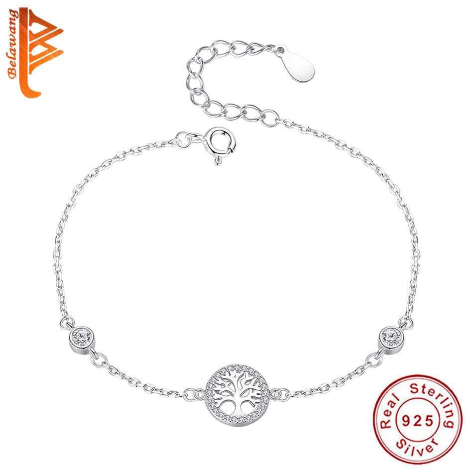Moda zimowa 925 srebro drzewo życia drzewo genealogiczne wyczyść CZ Charm bransoletka dla kobiet Girls Party świąteczna biżuteria upominkowa