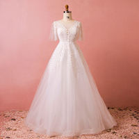 Ball Gown Scoop Neck Sweep Train Lace Wedding Dress With Appliques