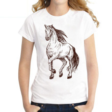 Women's T-Shirt Harajuku Horse-Print O-Neck Short-Sleeved Summer Casual
