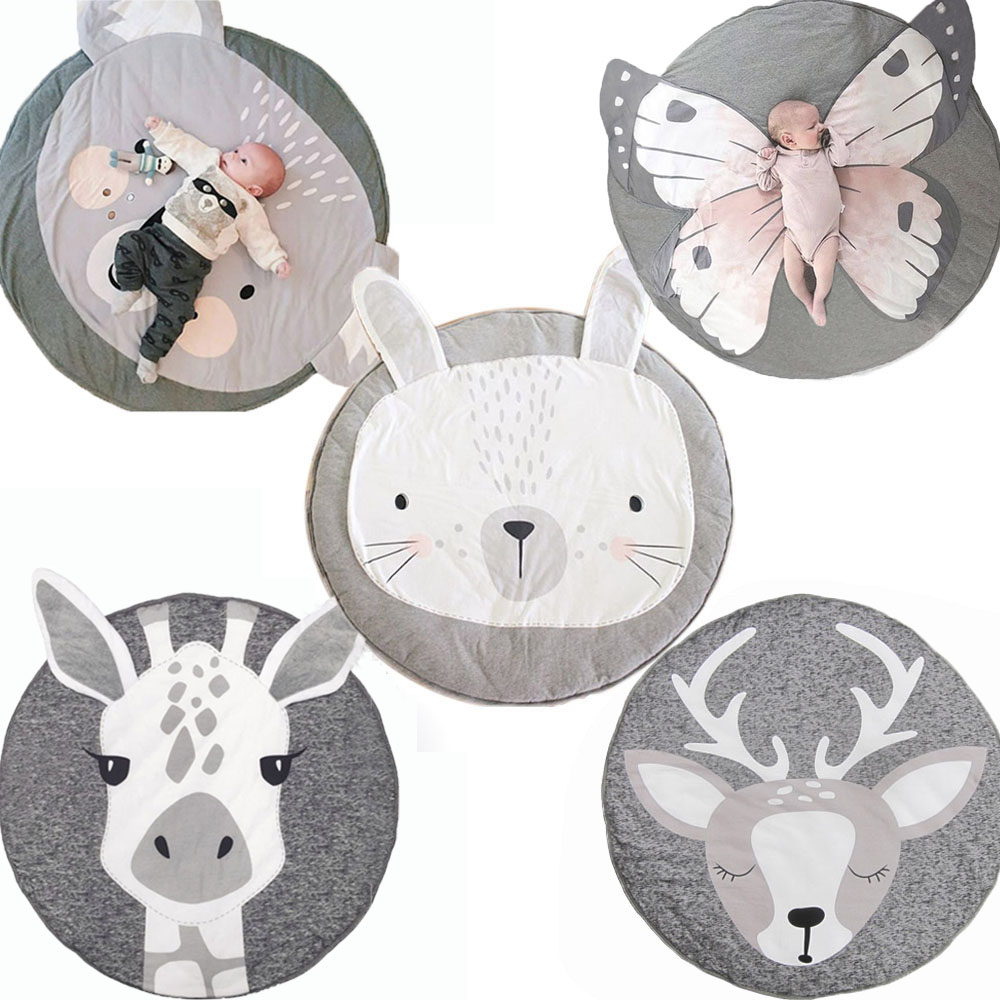 Carton Animal Kids Rug Toys Baby Play Mat Crawling Blanket Pad Round Carpet Floor Rug Soft Developing Mat Kids Room Decoration