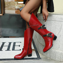 Med Heel Boots Round Toe Low Heels booties Rock Shoes Woman Clogs Platform Chelsea Winter Women Zipper Booties Ladies Martins(China)