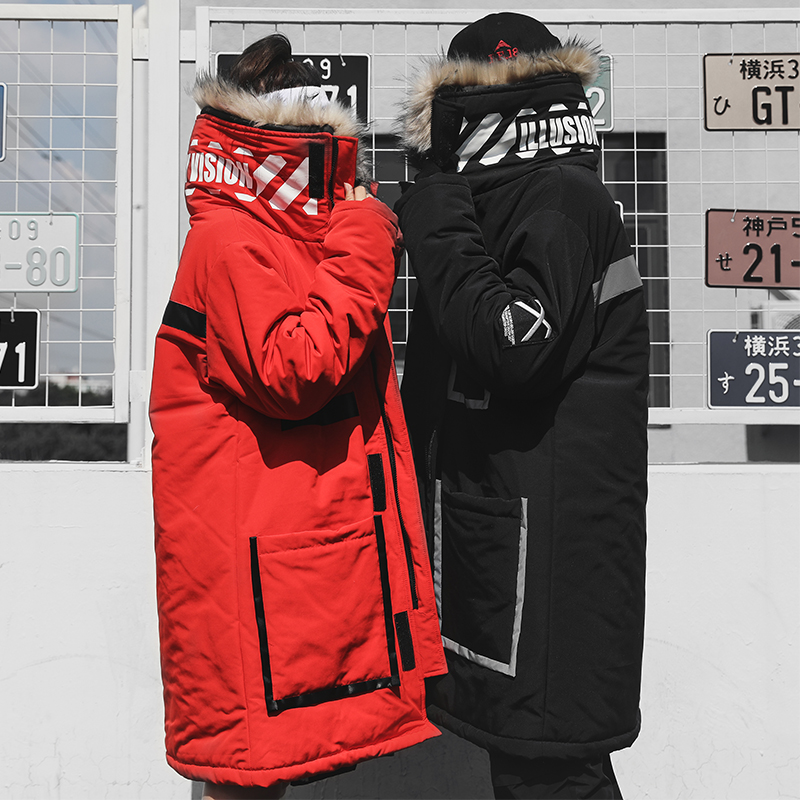 Men Cotton Padded Jacket Hooded Winter Warm Thick Jackets Windproof Outerwear Hip Hop Fur Collar Streetwear Long Winter Coat