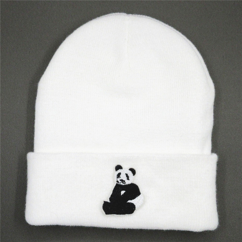 2020 New Style  Panda Embroidery Thicken Knitted Hat Winter Warm Hat Skullies Cap Beanie Hat For Kid Boy And Girl 90