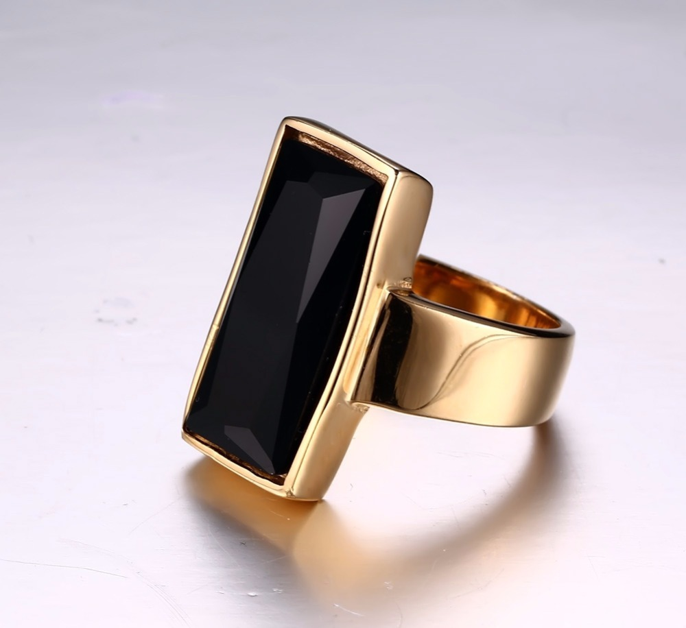 Mens Womens Rings Stainless Steel Gold-color Rectangular Black Glass Crystal Ring for Women Fashion Jewelry,Best Friend Gift anel masculino 14
