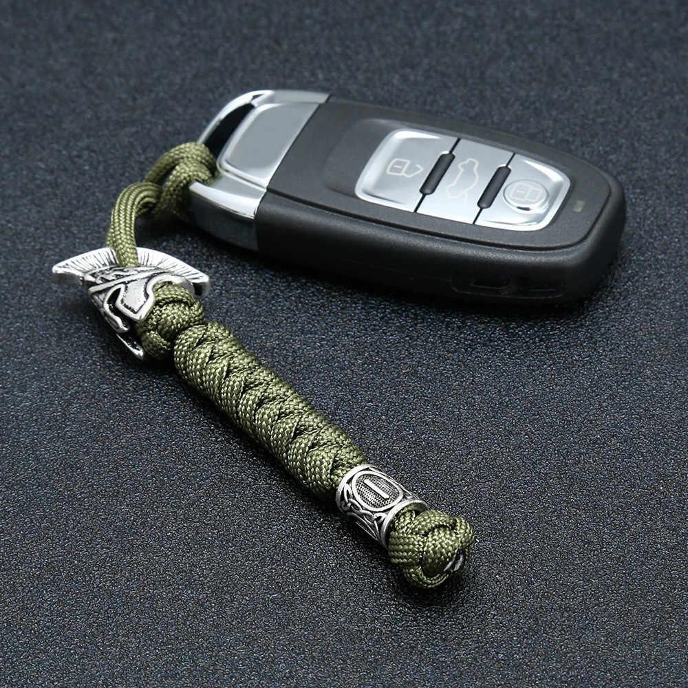 Viking Rune Perle Lanyard Keychain Außen Überleben Paracord Seil Keychain Spartan Krieger Schmuck Handgemachte Auto Schlüssel Messer Schlüsselring