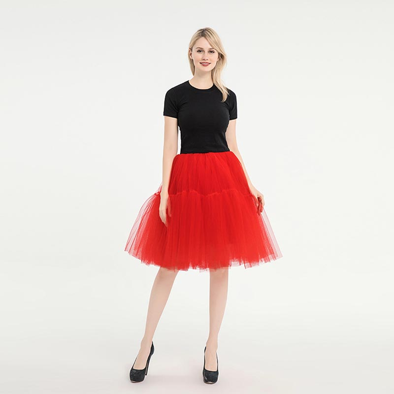 Knee Length Net Tulle Petticoat Women's 50s Petticoat Skirts Vintage Rockabilly Tutu Crinoline Underskirt For Women CQ046