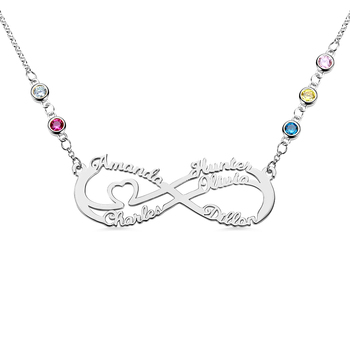 AILIN Infinity Name Necklaces Women Personalized Pendants & Necklaces Sterling Silver Custom Necklace Jewelry Gift Dropshipping