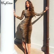 Hugcitar Леопардовый принт с длинным рукавом облегающее сексуальное платье осень зима женские уличные вечерние праздничные платья наряды