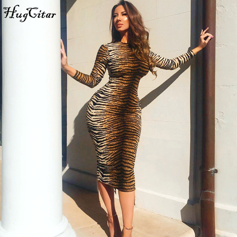 Hugcitar leopard print long sleeve slim bodycon sexy dress 2019 autumn winter women streetwear party festival dresses outfits Платье