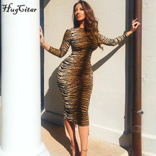 Hugcitar leopard print long sleeve slim bodycon sexy dress 2019 autumn winter wo