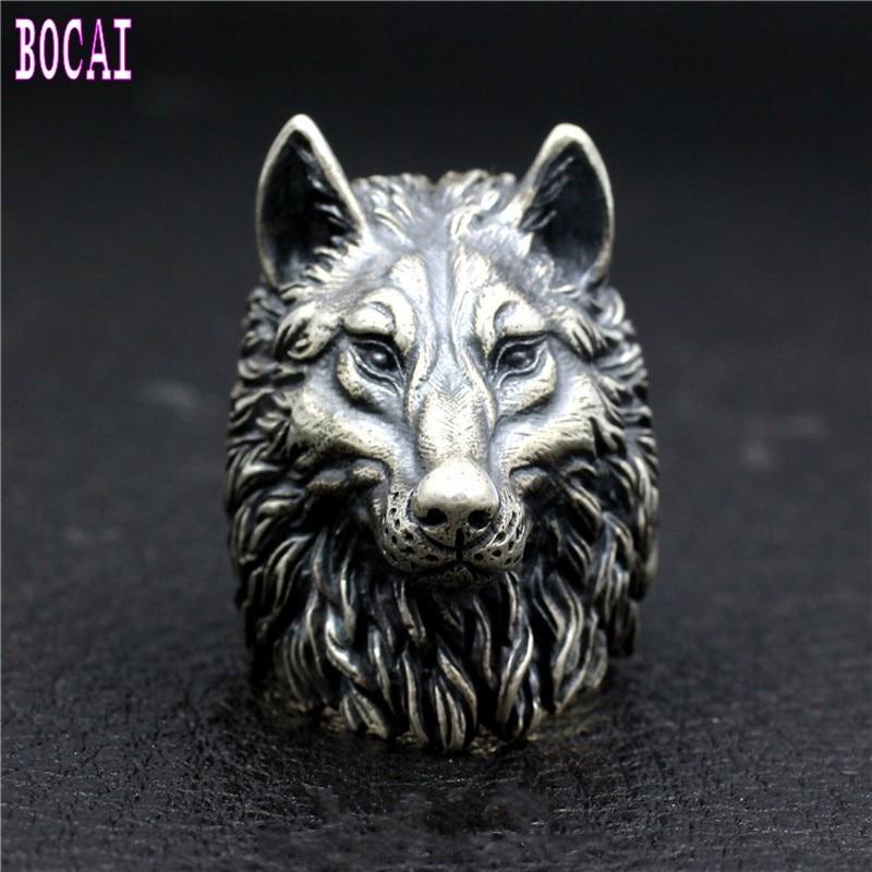 Loup roi nouveau S925 bague en argent Sterling fait à la main loup Totem corihan Locomotive Punk dominateur hommes tête de loup bague en argent - 5