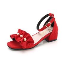 Summer Sandals Heel-Shoes Wedge-Dress Flowers Girls Kids Fashion for Big 3/4/5/.. Beads