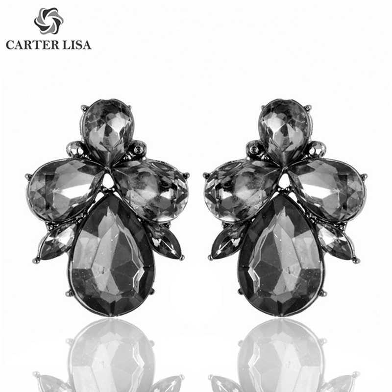 카터 리사 세련된 크리스탈 플라워 스터드 귀걸이 여성 패션 진술 라인 석 귀걸이 Orecchini Donna Bijouterie