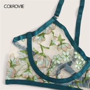 Image 4 - COLROVIE สีเขียวดอกไม้ปัก SHEER ชุดชั้นในชุดผู้หญิง Underwire ชุดชั้นในสตรี 2019 ตัด OUT Bra และ Thongs สุภาพสตรีเซ็กซี่ชุด