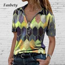 Mulheres sexy com decote em v com zíper blusa camisas verão moda vintage colorido diamante impressão topos feminino casual manga curta streetwear
