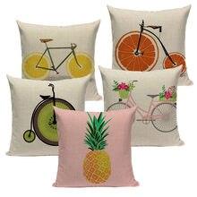 45x45cm orange lemon bicycle decorative yellow cushion covers