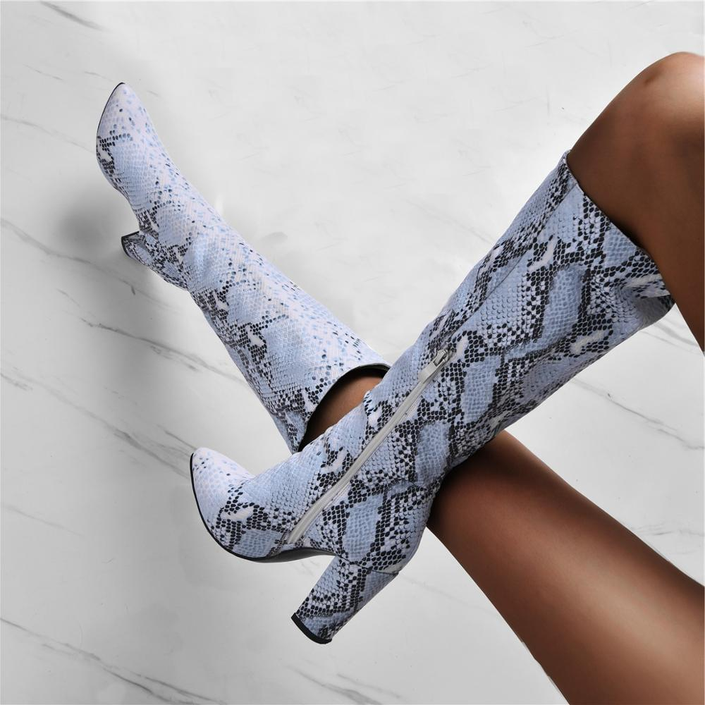 Stylish Blue Snake Print Leather Women Knee High Boots Python Pattern Chunky Heels Ladies Runway Boots Plus Size 13 Winter Boot