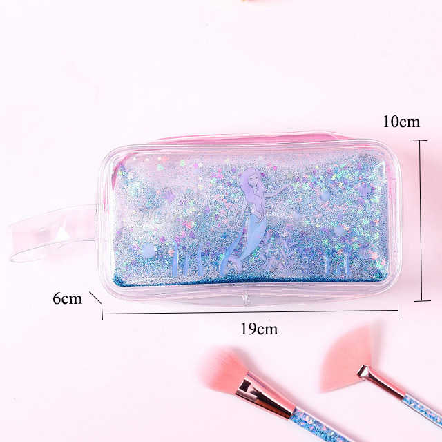 Kawaii Quicksand Mermaidดินสอความจุสูงดินสอโปร่งใสGlitter Pencilcaseสำหรับปากกากล่องอุปกรณ์โรงเรียน