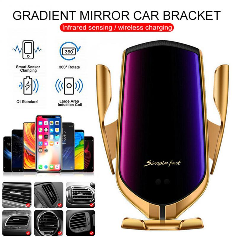 Automatic Qi Wireless Car Charging Charger Mount Clamping Vent Phone Holder W8 Fast Wireless Charging For IPhone Samsung Huawei