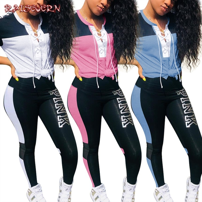 PINK Letter Outfit 2 Piece Set Women 2020 Short Sleeve Top And Pants Summer Casual Tracksuit Sweat Suit 2 Piece Pathwork