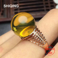 SHIQING Real nature blue amber fishbone fashion trendy 9mm blue colorful gemstone silver ring for her