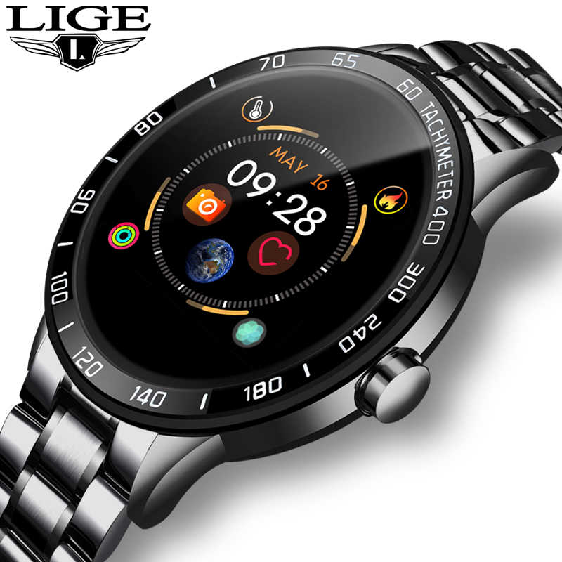 LIGE 2019 Neue stahl smart watch männer leder smart watch sport Für iPhone Herz rate blutdruck Fitness tracker smartwatch