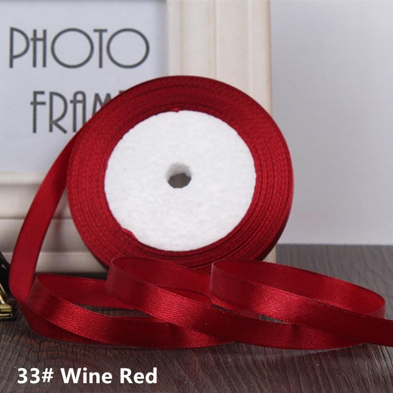 25 ярдов/рулон 6 мм 10 мм 15 мм 20 мм 25 мм 40 мм 50 мм шелковые атласные ленты для рукоделия бант ручной работы подарочная упаковка вечерние свадебные декоративные - Цвет: 33 Wine red