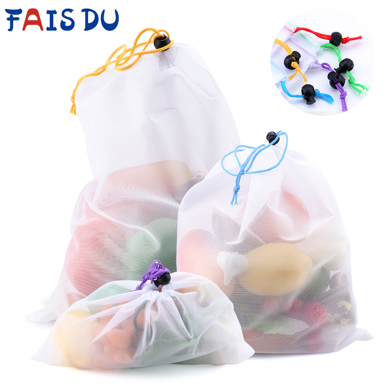5pcs Colorful Reusable Fruit Vegetable Bags Net Bag Produce Washable Mesh Bags Kitchen Storage Bags Toys Sundries