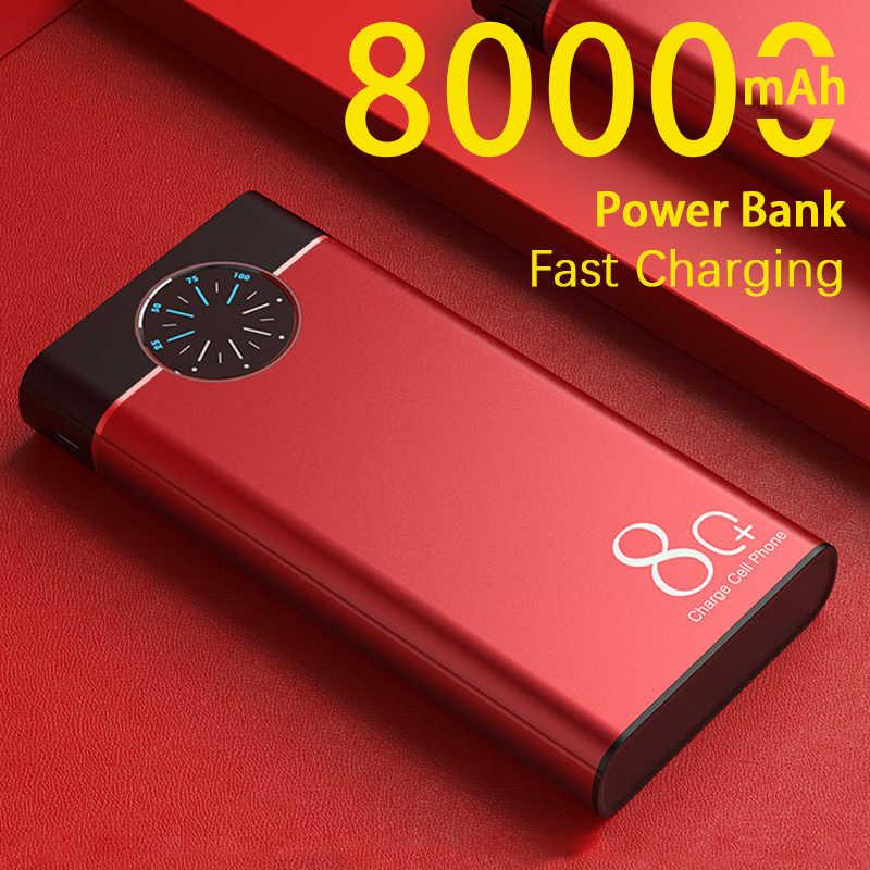 Banco de energía de 80000mAh, cargador de batería externo rápido, Banco de energía de gran capacidad, USB Dual con 2 linternas para Xiaomi Samsung