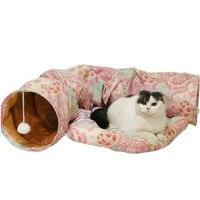 Двойное использование игрушка для кошек и кровать для кошек складной туннель для кошек маленькие собаки товары для домашних животных лежак...