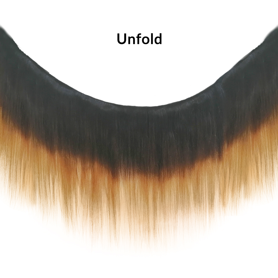 Image 2 - SAY ME 3 Tone Ombre Straight Human Hair Bundles With Closure 1B/4/27 30 Peruvian Hair Bundles With 4*4 Lace Closure Remy Weave-in 3/4 Bundles with Closure from Hair Extensions & Wigs