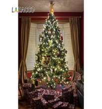 Laeacco Christmas Night Gifts Tree Scenic Interior Child Photography Backgrounds Custom Photographic Backdrops For Photo Studio free shipping vinyl backdrops for photography fond de studio de photographie christmas tree photography scenic backdrops sd 067