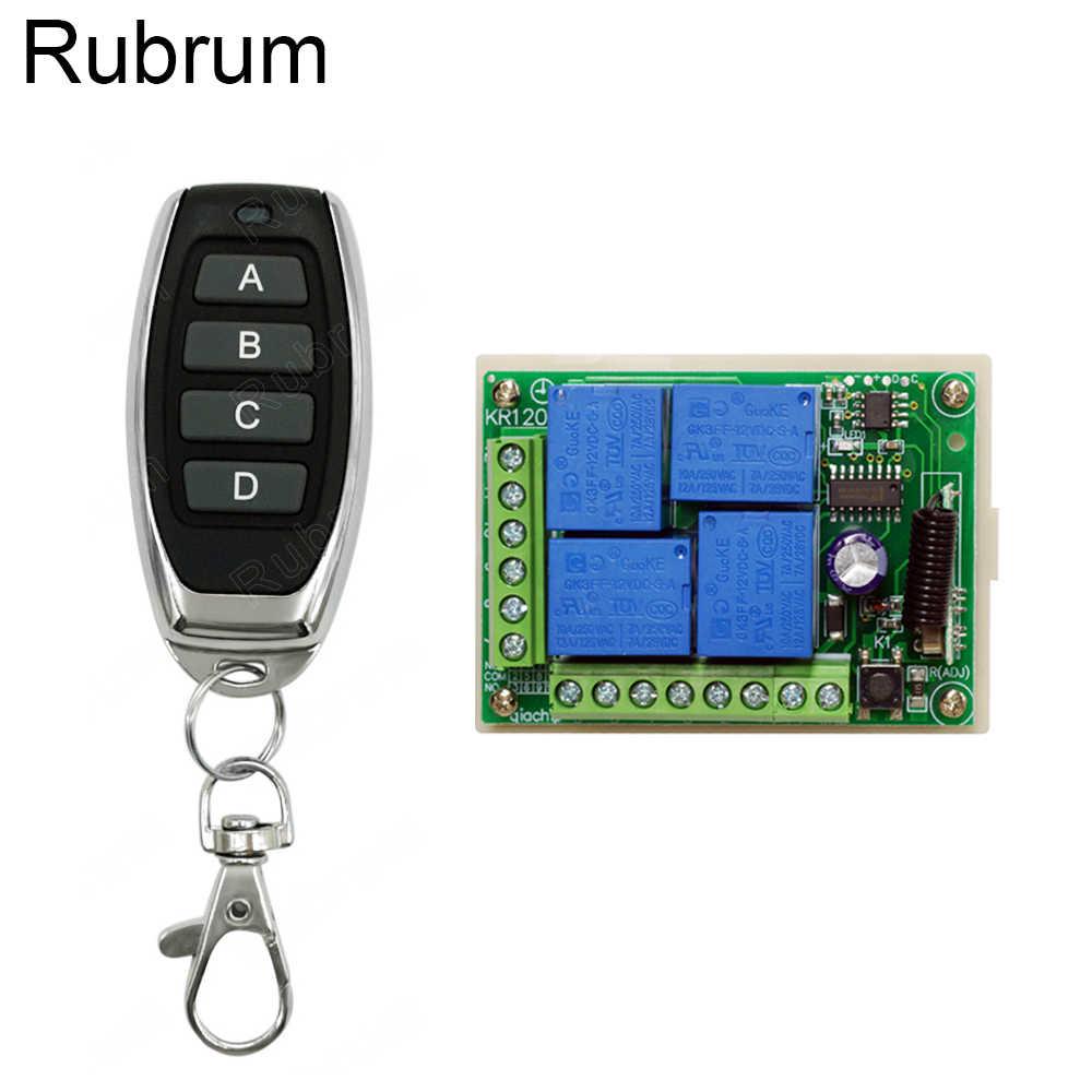 Rubrum 433Mhz تيار مستمر 12 فولت العالمي اللاسلكية RF التحكم عن بعد التبديل 4CH التتابع وحدة الاستقبال وجهاز التحكم عن بعد الذكية الارسال