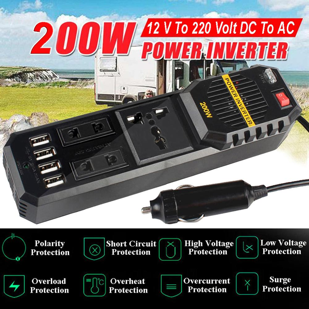 <font><b>200W</b></font> Power Car Inverter Square Wave DC <font><b>12V</b></font> to AC <font><b>220V</b></font> Voltage Converter 4 USB 3.1A Charger Auto <font><b>Inversor</b></font> 12 V 220 V image
