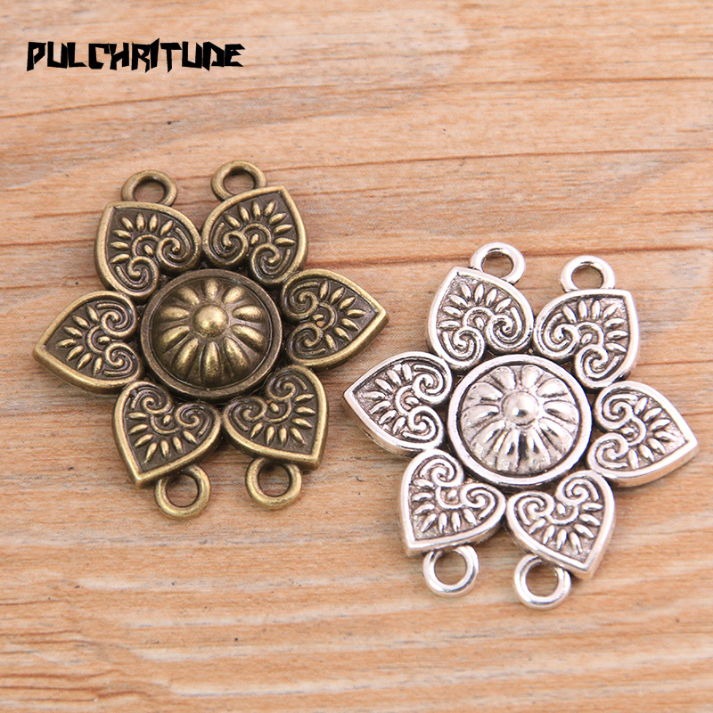 PULCHRITUDE 6pcs 33*35mm New Product Two Color Zinc Alloy Retro Flower Porous Connectors Jewelry Making DIY Handmade Craft