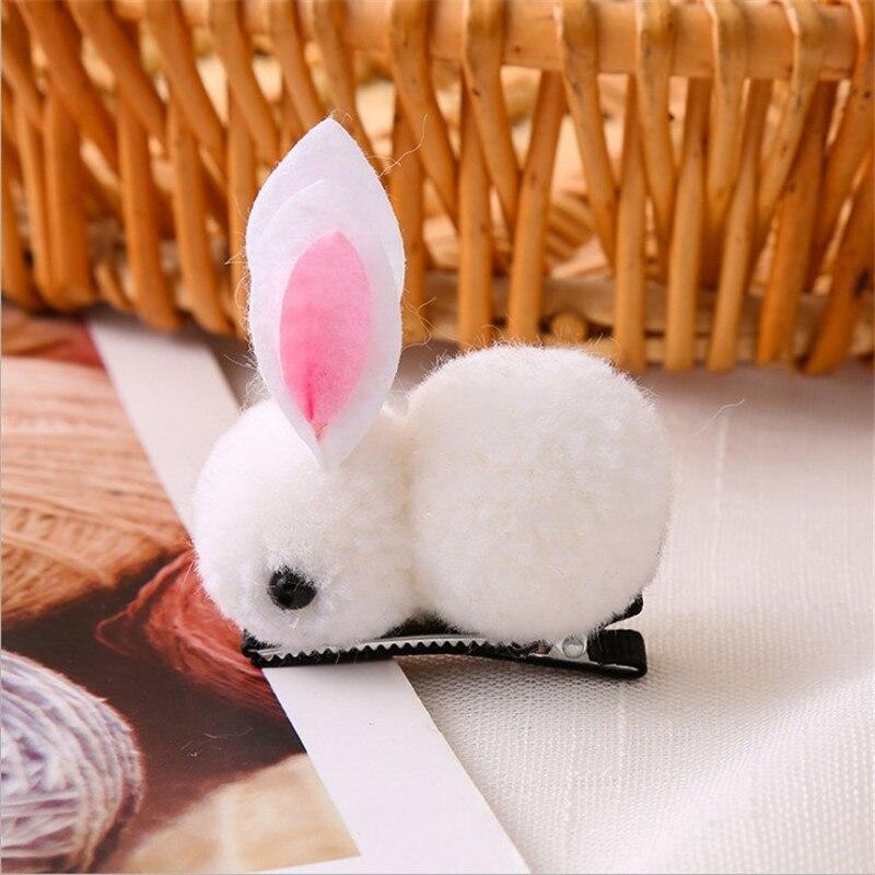 Cute Hair Ball Rabbit Hair Clip Children/'s Girl Animal Hairpins Korea Simple
