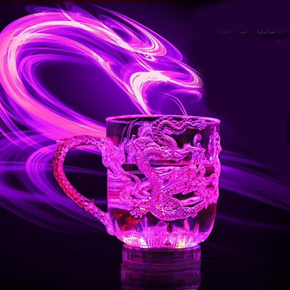 Индуктивная кружка для кемпинга, портативная разноцветная походная Кружка для пикника, 1 шт., Уличное оборудование вечерние ринки, свадебное украшение, светодиодная чаша с драконом