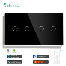 BSEED WIFI Double Light Switches Touch Sensor Wall Switches Google Alexa Smart Life App Control 4Gang 1/2/3 way Touch Switches
