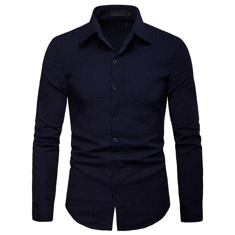 Casual Camisa de manga larga negra ajustada para Hombre, camisa de vestir de Negocios Sociales, camisa Formal de negocios para Hombre