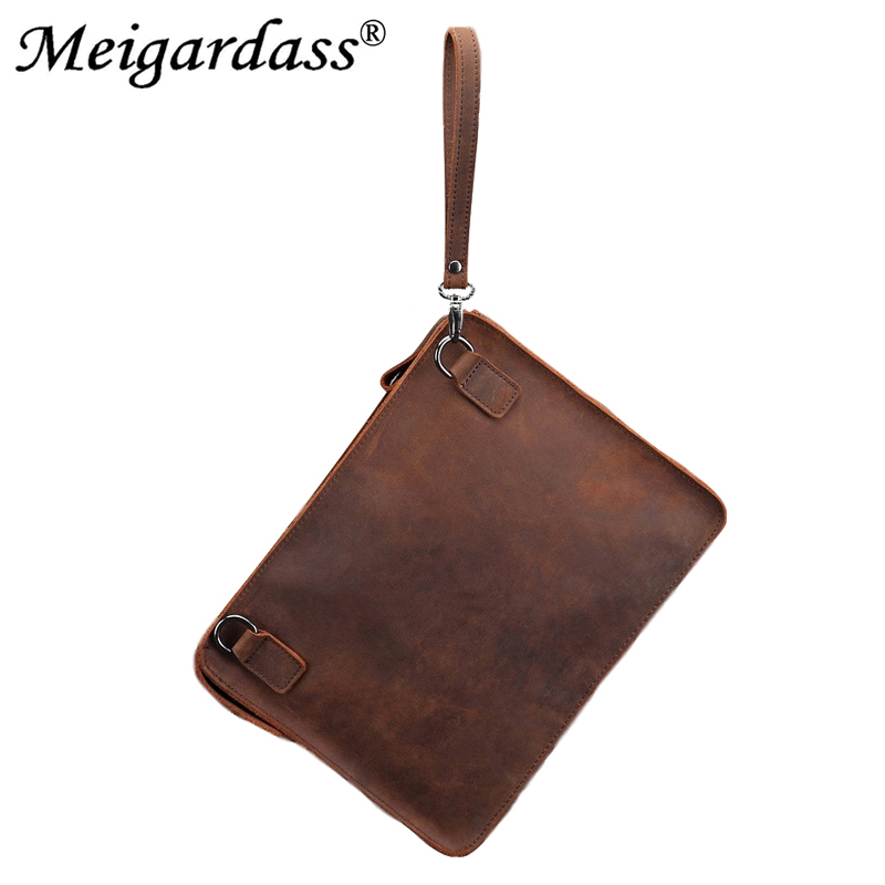 MEIGARDASS Crazy Horse Genuine Leather Briefcase Bags Men Vintage Business IPad Laptop Messenger Bag Male Envelope Bag