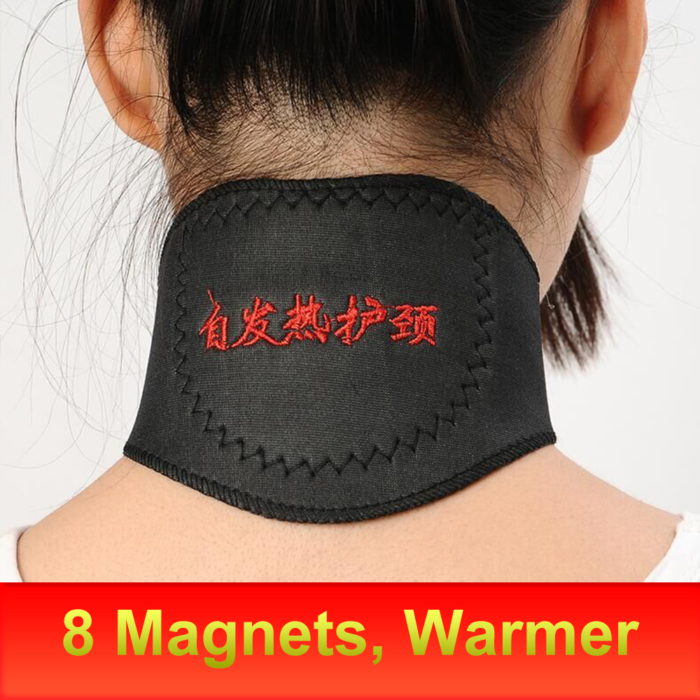 1pcs Magnetic Neck Brace Support Tourmaline Belt Magnet Therapy Self-heating Wrap Neck Protect Band Massager Belt Health Care